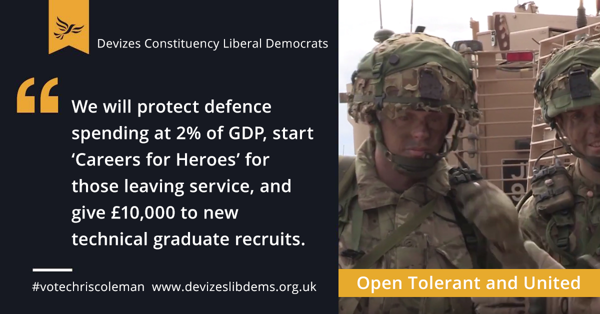 We will protect defence spending at 2% of GDP, start 'Careers for Heroes' for those leaving the service, and give £10,000 to new technical graduate recruits