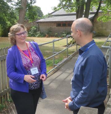 Jo Waltham speaking to Rowdeford Headmaster, Mike Loveridge