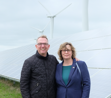 Jo Waltham and husband at Westmill Wind and Solar Farm