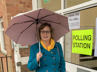Jo Waltham at Polling Station