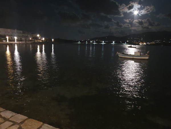 Soulatso harbour at night